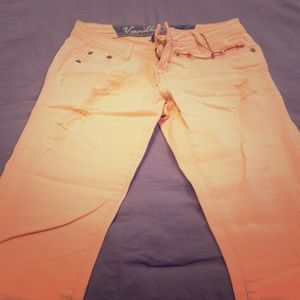 Vanilla star women's peach distressed jeans